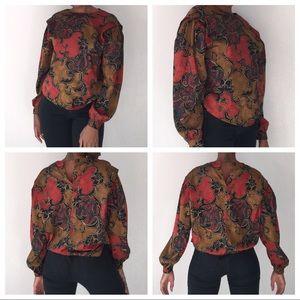 Vintage blouson sleeve tri color blouse